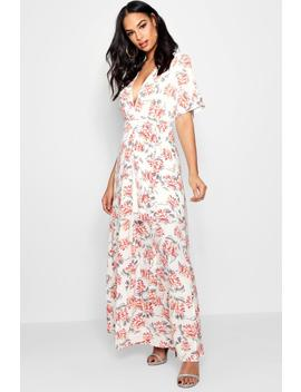 Boutique Floral Kimono Sleeve Maxi Dress by Boohoo