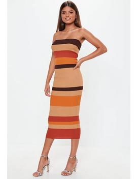 Camel Colourblock Striped Bandeau Knitted Midaxi Dress by Missguided