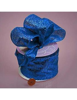 "Royal Blue Glitter Ribbon, 2 1/2"" X 10 Yd by Paper Mart"
