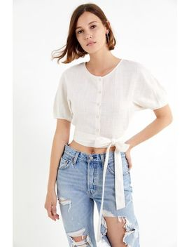 Astr The Label Dolly Tie Front Cropped Top by Astr The Label