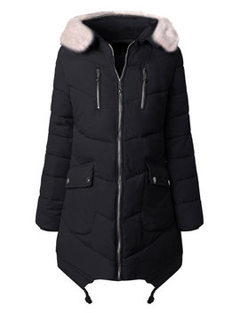 Casual Pure Color Faux Fur Hooded Women Cotton Down Coats by Newchic