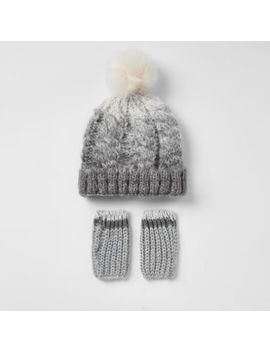Mini Boys Grey Ombre Knit Hat Set by River Island