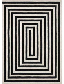 "Now House By Jonathan Adler Maze Collection Area Rug, 2'3"" X 7'2"", Ivory And Black by Now House By Jonathan Adler"
