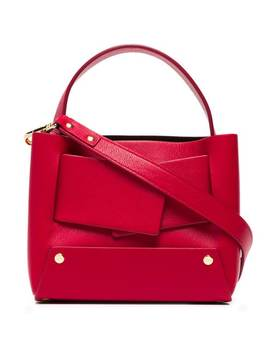 Red Dinky Leather Tote Bag by Yuzefi