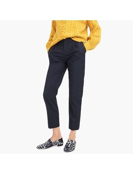Petite Pleated Trouser In Glen Plaid Flannel by J.Crew