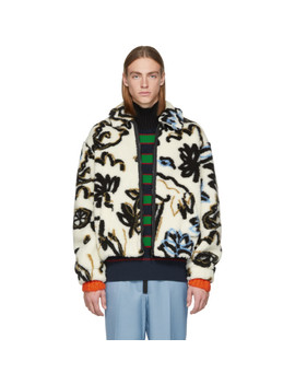 White Sherpa Sketch Memento Zip Jacket by Kenzo