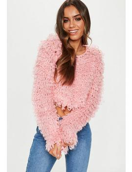 Pink Loopy Shaggy Knitted Cropped Jumper by Missguided