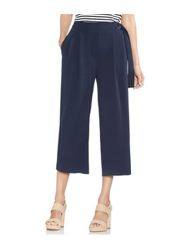 Pleat Front Micro Textured Wide Leg Culotte by Vince Camuto