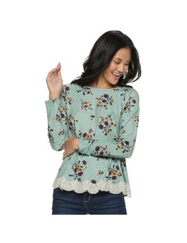 Juniors' Rewind Lace Up Back Crochet Trim Long Sleeve Tee by Kohl's