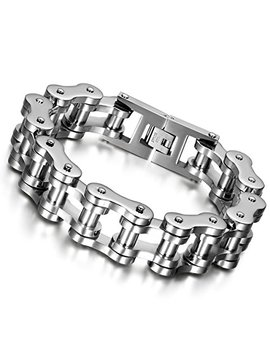 """Cupimatch Mens Heavy Gothic 18 Mm Wide Biker Silver Tone Stainless Steel Motorcycle Chain Bracelet 9.1"""" by Cupimatch"""