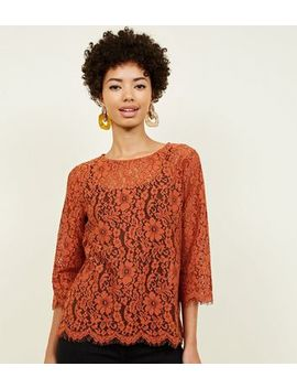 Rust Lace 3/4 Sleeve Zip Back Top by New Look