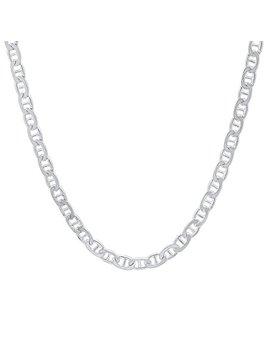 3.5mm 925 Sterling Silver Nickel Free Flat Mariner Link Italian Chain + Bonus Polishing Cloth by The Bling Factory
