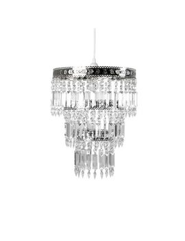 Tadpoles Faux Crystal & Chrome Queen's Crown Pendant Light Shade Chandelier Style by Tadpoles