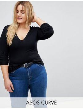 Asos Design Curve Ultimate Top With Long Sleeve And V Neck In Black by Asos Design