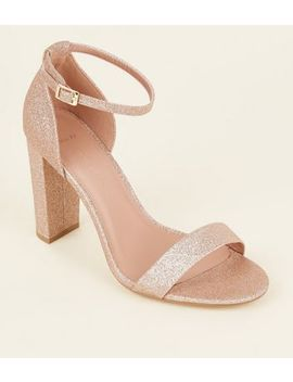 Wide Fit Rose Gold Glitter Block Heels by New Look