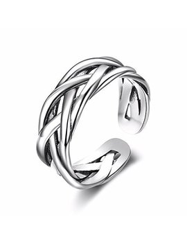 Tardoo 925 Sterling Silver Rings For Men & Womens Unique Simple Braid Design Adjustable Ring Fashion Jewellery Size O by Tardoo