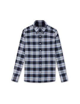 Blue Overcheck Slim Fit Shirt by Tom Ford