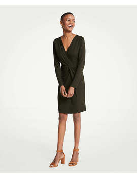 petite-gathered-rib-knit-dress by ann-taylor