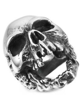 Mendino Large Men's 316 L Stainless Steel Gothic Skull Skeleton Band Ring Silver by Ebay Seller