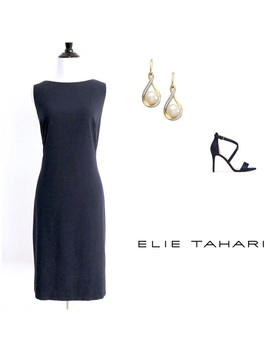 Elie Tahari Navy Blue Solid Sheath Dress by Elie Tahari