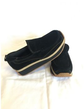 Steve Madden Platform Shoes Loafer Creeper Suede Black Retro Slide On Size 7 by Steve Madden