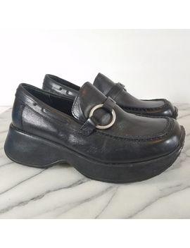 Vintage 90's Grunge Steve Madden Black Chunky Platform Leather Penny Loafers 7 by Steve Madden