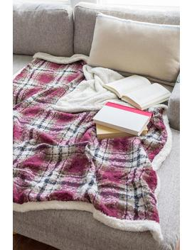 Checkered Burgundy Sherpa Throw by Francesca's