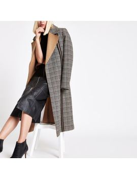 Ri Studio Black Check Tie Waist Longline Coat by River Island