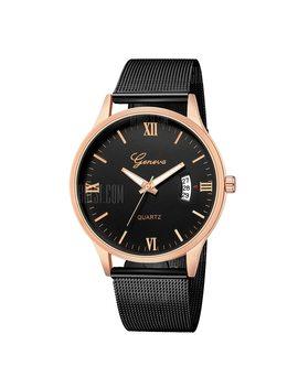 Geneva Men Fashion Classic Business Roman Digital Calendar Steel Quartz Watch by Mangrove