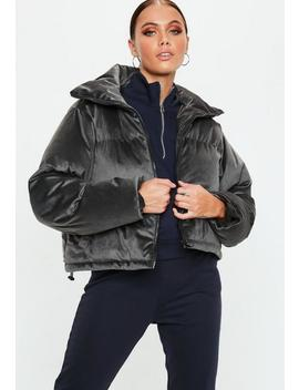 Grey Velvet Puffer Jacket by Missguided