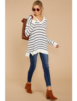 Chilly Night On The Coast Navy Stripe Sweater by Fable