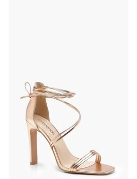 Wrap Strap Slim Block Heels by Boohoo