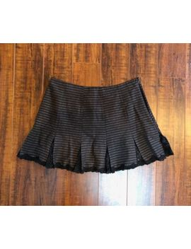 Betsey Johnson Brown & Black Pleated Lace Mini Skirt Sz Med 8  10 by Betsey Johnson