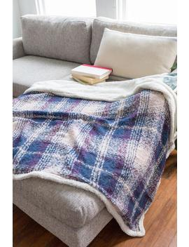Checkered Navy Sherpa Throw by Francesca's