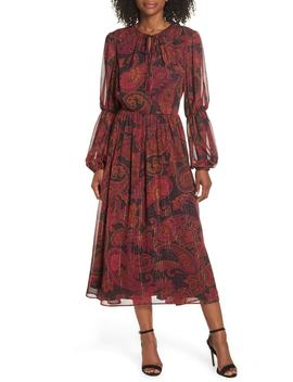Double Puff Sleeve Midi Dress by Maggy London