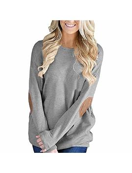 Clearance Perman Womens Winter Long Sleeve Loose Fit Patchwork Tops Blouse Sweatshirt Pullover by Perman Clothing