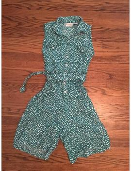 Women's Vintage 1980's Green An White Polka Dotted Romper With Belt. Size M by Etsy