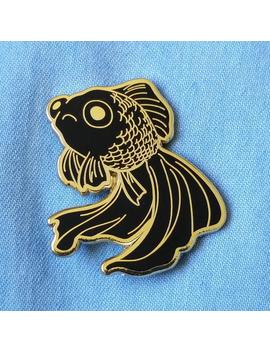 Sad Fish Hard Enamel Pin   Gold And Black   Lapel Pin Cloisonné Badge   Goldfish Black Telescope, Mermaid Pin by Etsy