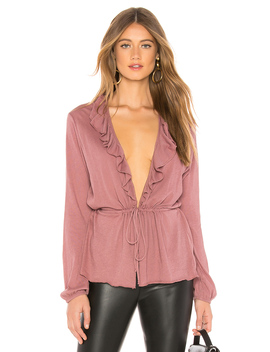 Gauzy Cotton Blouson Ruffle Cardigan by Chaser
