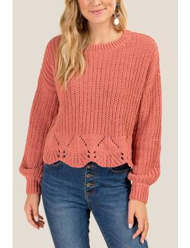Samara Pointelle Scallop Hem Sweater by Francesca's