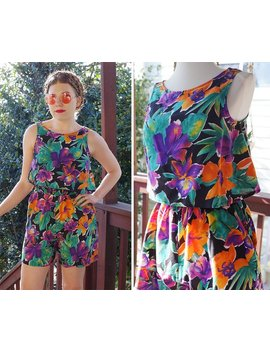 Hibiscus 1980's 90's Vintage Colorful Sleeveless Floral Romper W/ Crop Top + Belt // Size Small 5 // By Choice Dress by Etsy