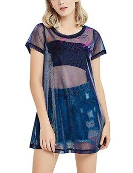 Perfashion Holographic Mesh Dress Metallic See Through T Shirt Dress For Women by Perfashion