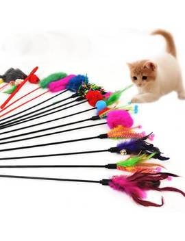 4 Pcs Funny Pet Kitten Cat Stick Toy Colorful Feather Short Rod Interactive Wires by Unbranded