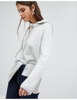 River Island Knitted Hoodie In Grey by River Island