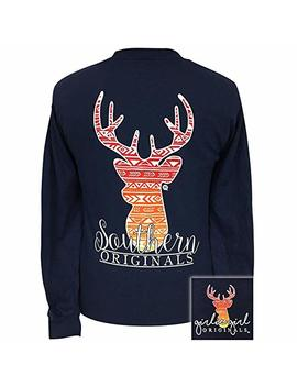 Girlie Girl Aztec Deer Preppy Long Sleeve T Shirt Adult by Girlie Girl Originals