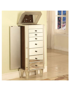 Mirrored Jewelry Armoire With Silver Tone Wood by Fine Jewelry