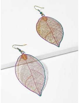 Hollow Leaf Shaped Drop Earrings by Sheinside