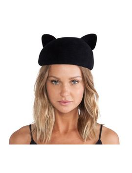 $253 Eugenia Kim 100 Percents Rabbit Hair Caterina Hat Black Cat One Size by Eugenia Kim