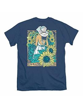 Lily Grace Sunflower Girl   Navy | Women's Topside Cotton T Shirt by Lily Grace
