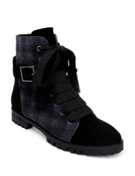 Women's Celine Plaid Suede Lace Up Booties by Splendid